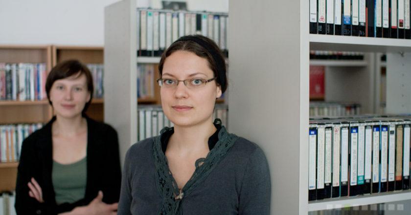 """Lina Kaminskaitė-Jančorienė ir Lina Černiauskaitė """"Mediatekoje""""."""