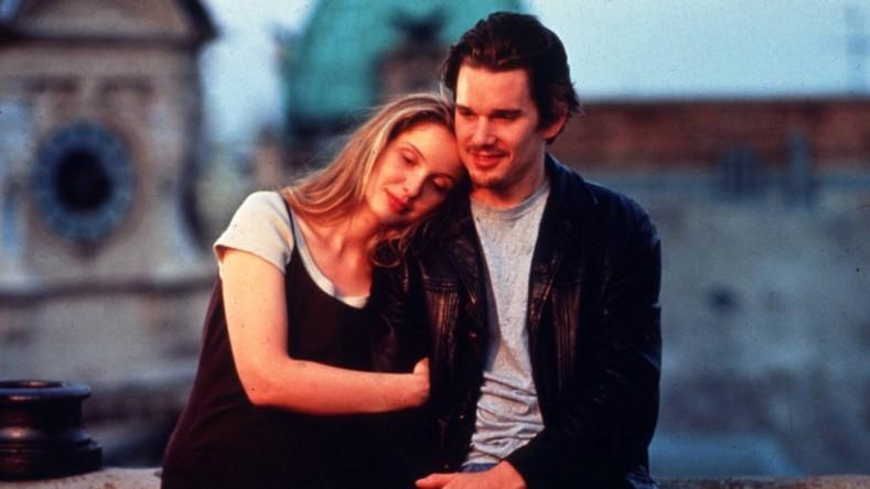 "Kadras iš filmo ""Before Sunrise"". Aktoriai Julie Delpy ir Ethan Hawke"